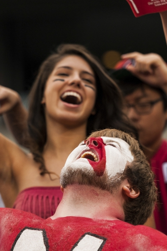 Oct 19, 2013; Philadelphia, PA, USA; Temple Owls fans celebrate after defeating the Army Black Knights at Lincoln Financial Field. Temple defeated Army 33-14. Mandatory Credit: Howard Smith-USA TODAY Sports