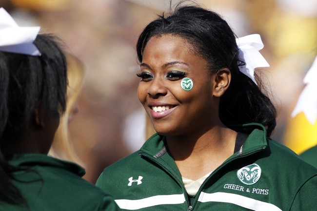 Oct 19, 2013; Laramie, WY, USA; A Colorado State Rams cheerleader performs at a game against the Wyoming Cowboys at War Memorial Stadium. The Rams defeated the Cowboys 52-22.   Mandatory Credit: Troy Babbitt-USA TODAY Sports