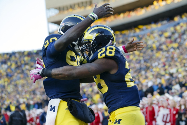 Oct 19, 2013; Ann Arbor, MI, USA; Michigan Wolverines running back Fitzgerald Toussaint (28) is congratulated by quarterback Devin Gardner (98) after scoring a touchdown in the second half against the Indiana Hoosiers at Michigan Stadium. Mandatory Credit: Rick Osentoski-USA TODAY Sports