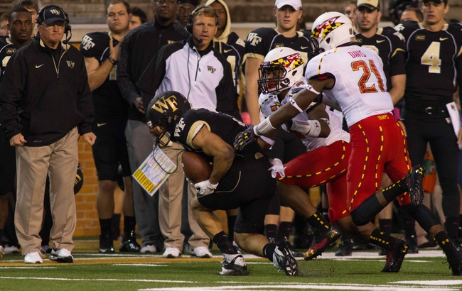 Oct 19, 2013; Winston-Salem, NC, USA; Wake Forest Demon Deacons wide receiver Michael Campanaro (3) catches a pass during the fourth quarter against the Maryland Terrapins at BB&T Field. Campanaro set the school record for receptions with this catch. Wake defeated Maryland 34-10. Mandatory Credit: Jeremy Brevard-USA TODAY Sports