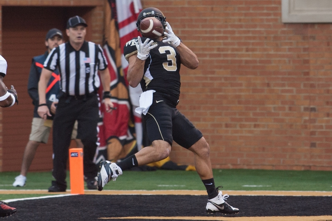 Oct 19, 2013; Winston-Salem, NC, USA; Wake Forest Demon Deacons wide receiver Michael Campanaro (3) catches a touchdown pass during the third quarter against the Maryland Terrapins at BB&T Field. Wake defeated Maryland 34-10. Mandatory Credit: Jeremy Brevard-USA TODAY Sports