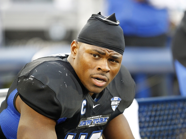 Oct 19, 2013; Buffalo, NY, USA; Buffalo Bulls linebacker Khalil Mack (46) on the sideline during the first half against the Massachusetts Minutemen at University of Buffalo Stadium. Mandatory Credit: Timothy T. Ludwig-USA TODAY Sports