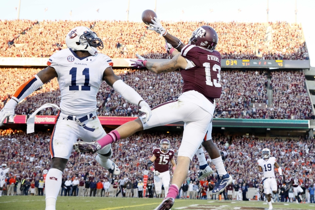 Oct 19, 2013; College Station, TX, USA; Texas A&M Aggies wide receiver Mike Evans (13) is unable to make the catch as Auburn Tigers defensive back Jermaine Whitehead (behind) defends the play during the second half at Kyle Field. Tigers won 45-41. Mandatory Credit: Soobum Im-USA TODAY Sports