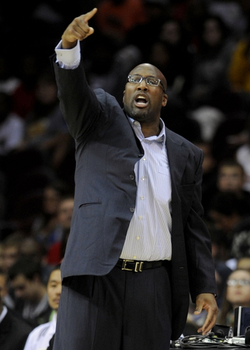 Oct 19, 2013; Cleveland, OH, USA; Cleveland Cavaliers head coach Mike Brown shouts to his players during the first quarter against the Indiana Pacers at Quicken Loans Arena. Mandatory Credit: Ken Blaze-USA TODAY Sports