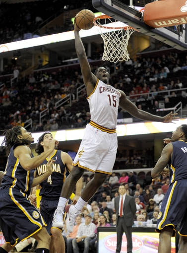 Oct 19, 2013; Cleveland, OH, USA; Cleveland Cavaliers forward Anthony Bennett (15) goes up for a slam dunk during the first quarter against the Indiana Pacers at Quicken Loans Arena. Bennett missed the dunk. Mandatory Credit: Ken Blaze-USA TODAY Sports