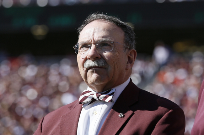 Oct 19, 2013; College Station, TX, USA; Texas A&M Aggies president Dr. R. Bowen Loftin on the sidelines of the game against the Auburn Tigers during the first half at Kyle Field. Mandatory Credit: Soobum Im-USA TODAY Sports