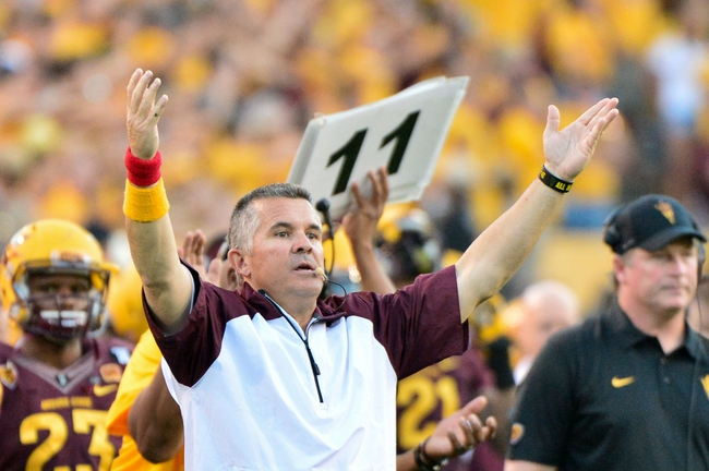 Oct 19, 2013; Tempe, AZ, USA; Arizona State Sun Devils head coach Todd Graham signals during the second half against the Washington Huskies at Sun Devil Stadium. Mandatory Credit: Matt Kartozian-USA TODAY Sports