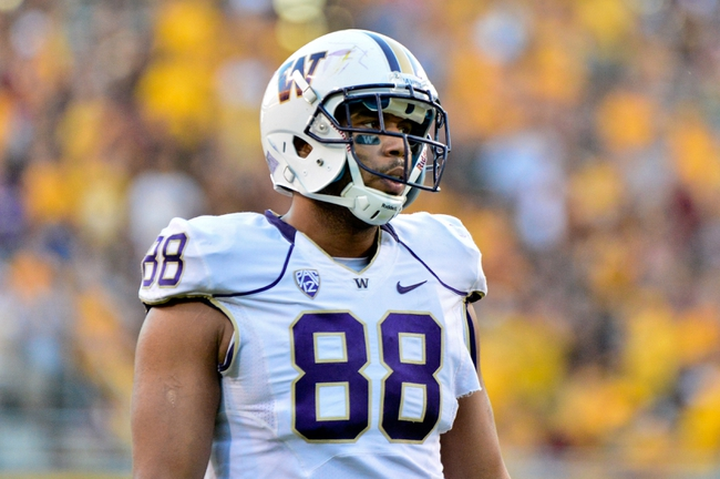 Oct 19, 2013; Tempe, AZ, USA; Washington Huskies tight end Austin Seferian-Jenkins (88) looks on during the second half against the Arizona State Sun Devils at Sun Devil Stadium. Mandatory Credit: Matt Kartozian-USA TODAY Sports