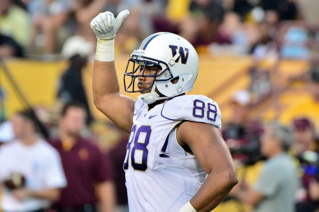 Oct 19, 2013; Tempe, AZ, USA; Washington Huskies tight end Austin Seferian-Jenkins (88) reacts during the second half against the Arizona State Sun Devils at Sun Devil Stadium. Mandatory Credit: Matt Kartozian-USA TODAY Sports