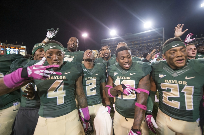 Oct 19, 2013; Waco, TX, USA; The Baylor Bears celebrate the win over the Iowa State Cyclones at Floyd Casey Stadium. The Bears defeated the Cyclones 71-7. Mandatory Credit: Jerome Miron-USA TODAY Sports