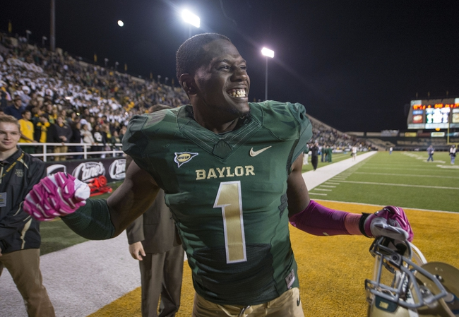 Oct 19, 2013; Waco, TX, USA; Baylor Bears defensive back Prince Kent (1) celebrates the win over the Iowa State Cyclones at Floyd Casey Stadium. The Bears defeated the Cyclones 71-7. Mandatory Credit: Jerome Miron-USA TODAY Sports