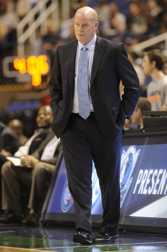 Oct 19, 2013; Greensboro, NC, USA; Charlotte Bobcats head coach Steve Clifford during the game against the Dallas Mavericks at Greensboro Coliseum. The Mavericks won 89-83. Mandatory Credit: Sam Sharpe-USA TODAY Sports