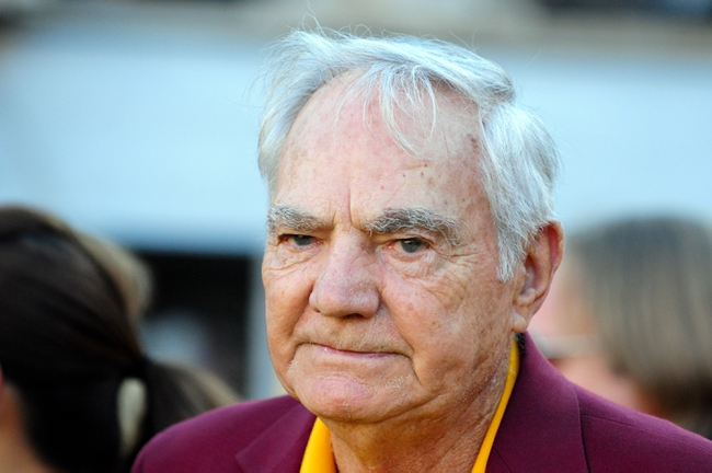 Oct 19, 2013; Tempe, AZ, USA; Former Arizona State Sun Devils  head coach Frank Kush looks on during the first half against the Washington Huskies at Sun Devil Stadium. Mandatory Credit: Matt Kartozian-USA TODAY Sports