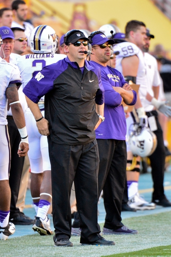 Oct 19, 2013; Tempe, AZ, USA; Washington Huskies head coach Steve Sarkisian looks on during the first half against the Arizona State Sun Devils at Sun Devil Stadium. Mandatory Credit: Matt Kartozian-USA TODAY Sports