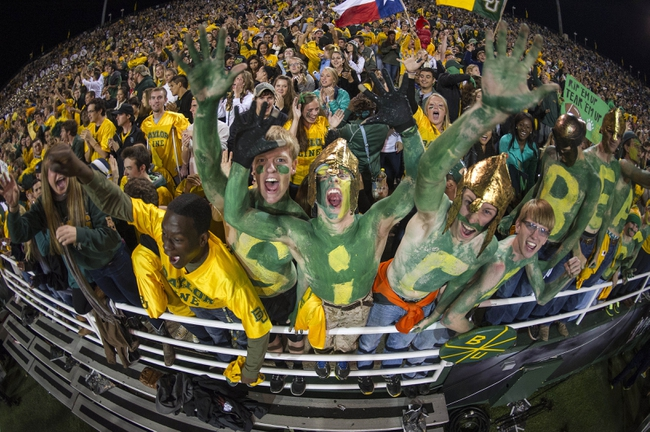 Oct 19, 2013; Waco, TX, USA; The Baylor Bears fans root for the Bears as they take on the Iowa State Cyclones at Floyd Casey Stadium. The Bears defeated the Cyclones 71-7. Mandatory Credit: Jerome Miron-USA TODAY Sports