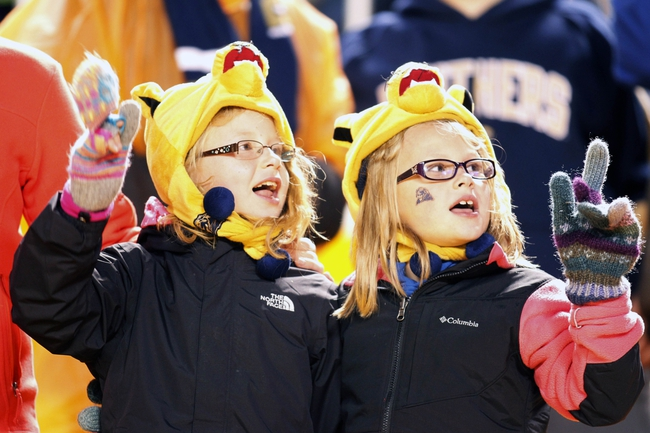Oct 19, 2013; Pittsburgh, PA, USA; Pittsburgh Panthers fans cheer on the team against the Old Dominion Monarchs during the third quarter at Heinz Field.  Pittsburgh won 35-24. Mandatory Credit: Charles LeClaire-USA TODAY Sports