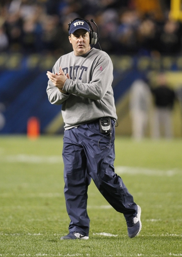 Oct 19, 2013; Pittsburgh, PA, USA; Pittsburgh Panthers head coach Paul Chryst reacts on the sidelines against the Old Dominion Monarchs during the third quarter at Heinz Field.  Pittsburgh won 35-24. Mandatory Credit: Charles LeClaire-USA TODAY Sports