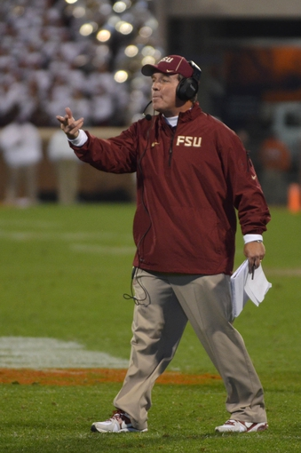 Oct 19, 2013; Clemson, SC, USA; FFlorida State Seminoles head coach Jimbo Fisher reacts during the fourth quarter against the Clemson Tigers at Clemson Memorial Stadium. Seminoles won 51-14. Mandatory Credit: Joshua S. Kelly-USA TODAY Sports