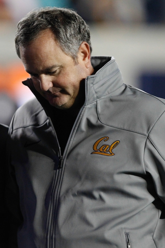 Oct 19, 2013; Berkeley, CA, USA; California Golden Bears head coach Sonny Dykes stands on the sidelines against the Oregon State Beavers at Memorial Stadium. Mandatory Credit: Kelley L Cox-USA TODAY Sports