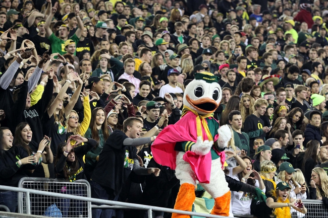Oct 19, 2013; Eugene, OR, USA; Oregon Ducks mascot performs for the fans in the third quarter against the Washington State Cougars at Autzen Stadium. Mandatory Credit: Scott Olmos-USA TODAY Sports
