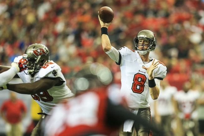 Oct 20, 2013; Atlanta, GA, USA; Tampa Bay Buccaneers quarterback Mike Glennon (8) throws a pass in the first half against the Atlanta Falcons at the Georgia Dome. Mandatory Credit: Daniel Shirey-USA TODAY Sports