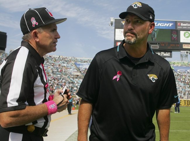 Oct 20, 2013; Jacksonville, FL, USA; Jacksonville Jaguars head coach Gus Bradley reacts after airing his grievances with an official after the second quarter of their game against the San Diego Chargers at EverBank Field. Mandatory Credit: Phil Sears-USA TODAY Sports