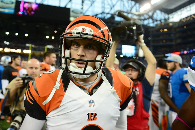 Oct 20, 2013; Detroit, MI, USA; Cincinnati Bengals kicker Mike Nugent (2) celebrates after kicking the game winning field goal to defeat the Detroit Lions 27-24 at Ford Field. Mandatory Credit: Andrew Weber-USA TODAY Sports