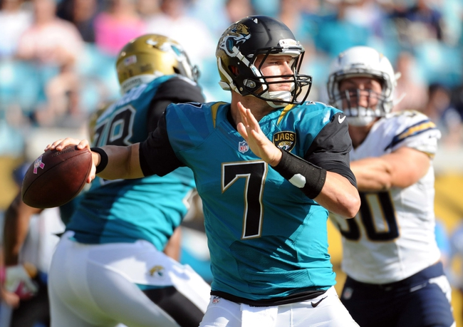 Oct 20, 2013; Jacksonville, FL, USA; Jacksonville Jaguars quarterback Chad Henne (7) looks to throw the ball during the second half of the game against the San Diego Chargers at EverBank Field. Mandatory Credit: Melina Vastola-USA TODAY Sports