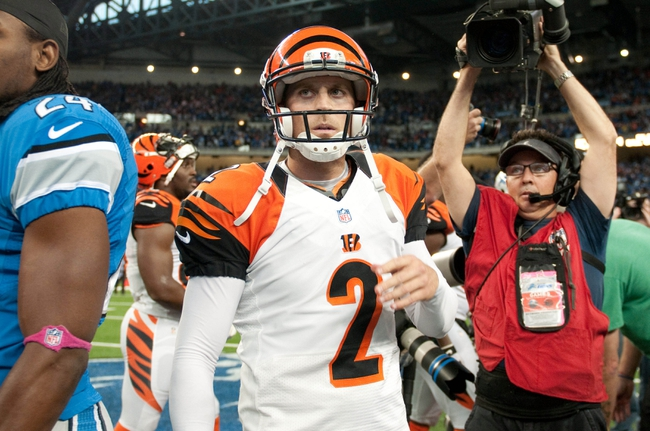 Oct 20, 2013; Detroit, MI, USA; Cincinnati Bengals kicker Mike Nugent (2) after the game against the Detroit Lions at Ford Field. Bengals won 27-24. Mandatory Credit: Tim Fuller-USA TODAY Sports