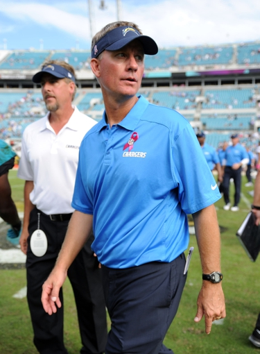 Oct 20, 2013; Jacksonville, FL, USA; San Diego Chargers head coach Mike McCoy after the game against the Jacksonville Jaguars at EverBank Field. Mandatory Credit: Melina Vastola-USA TODAY Sports
