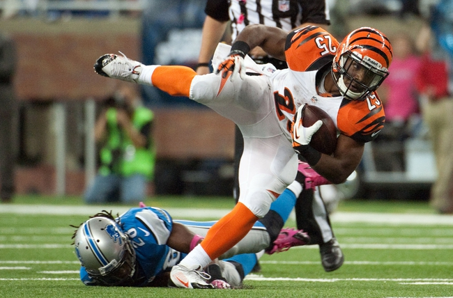 Oct 20, 2013; Detroit, MI, USA; Cincinnati Bengals running back Giovani Bernard (25) during the fourth quarter against the Detroit Lions at Ford Field. Bengals won 27-24. Mandatory Credit: Tim Fuller-USA TODAY Sports