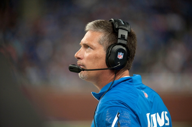 Oct 20, 2013; Detroit, MI, USA; Detroit Lions head coach Jim Schwartz during the fourth quarter against the Cincinnati Bengals at Ford Field. Bengals won 27-24. Mandatory Credit: Tim Fuller-USA TODAY Sports