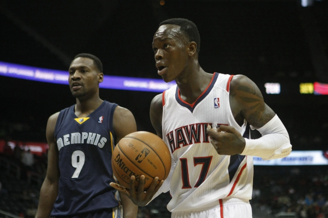 Oct 10, 2013; Atlanta, GA, USA; Atlanta Hawks point guard Dennis Schroder (17) reacts to a call against the Memphis Grizzlies in the second quarter at Philips Arena. Mandatory Credit: Brett Davis-USA TODAY Sports