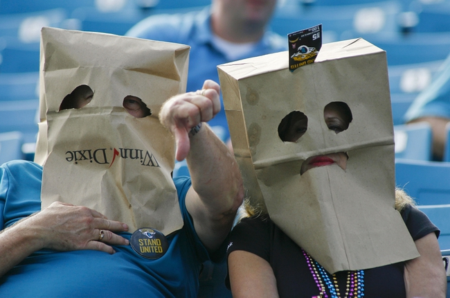 Oct 20, 2013; Jacksonville, FL, USA; Two Jacksonville Jaguars fans wear bags over their heads at the end of the fourth quarter of their game against the San Diego Chargers at EverBank Field. The San Diego Chargers defeated the Jacksonville Jaguars 24-6. Mandatory Credit: Phil Sears-USA TODAY Sports