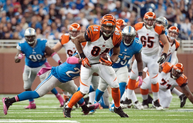 Oct 20, 2013; Detroit, MI, USA; Cincinnati Bengals tight end Jermaine Gresham (84) during the fourth quarter against the Detroit Lions at Ford Field. Bengals won 27-24. Mandatory Credit: Tim Fuller-USA TODAY Sports