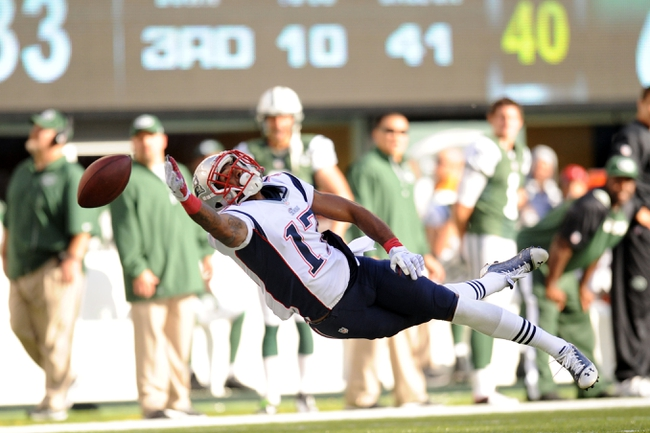 Oct 20, 2013; East Rutherford, NJ, USA; New England Patriots wide receiver Aaron Dobson (17) is unable to make a catch against the New York Jets during the second half at MetLife Stadium. The Jets won the game 30-27 in overtime. Mandatory Credit: Joe Camporeale-USA TODAY Sports