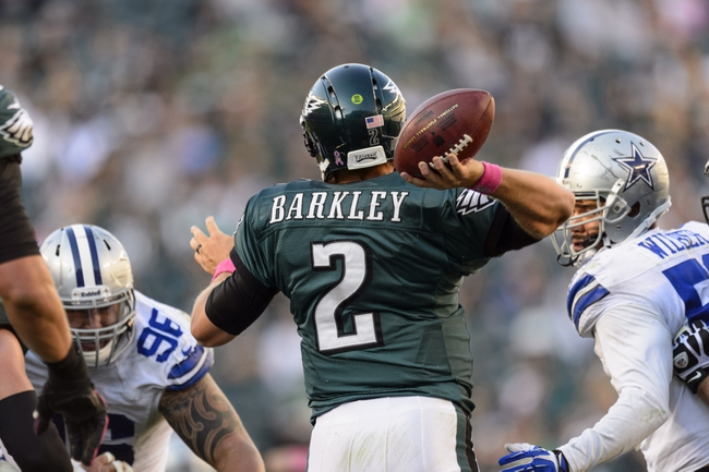 Oct 20, 2013; Philadelphia, PA, USA; Philadelphia Eagles quarterback Matt Barkley (2) passes the ball during the fourth quarter against the Dallas Cowboys at Lincoln Financial Field. The Cowboys defeated the Eagles 17-3. Mandatory Credit: Howard Smith-USA TODAY Sports
