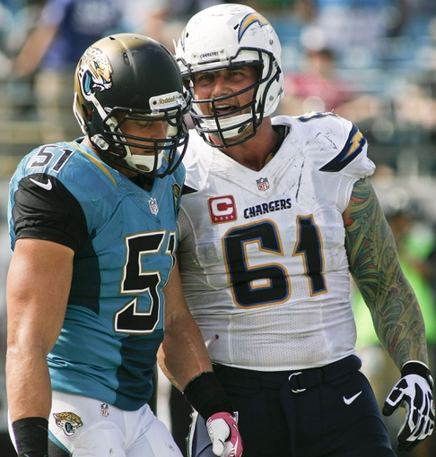 Oct 20, 2013; Jacksonville, FL, USA; Jacksonville Jaguars linebacker Paul Posluszny (51) listens to San Diego Chargers center Nick Hardwick (61) in the final minute of the second quarter of their game at EverBank Field. The San Diego Chargers defeated the Jacksonville Jaguars 24-6. Mandatory Credit: Phil Sears-USA TODAY Sports