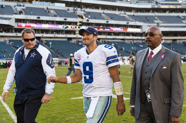 Oct 20, 2013; Philadelphia, PA, USA; Dallas Cowboys quarterback Tony Romo (9) walks off the field after playing the Philadelphia Eagles at Lincoln Financial Field. The Cowboys defeated the Eagles 17-3. Mandatory Credit: Howard Smith-USA TODAY Sports