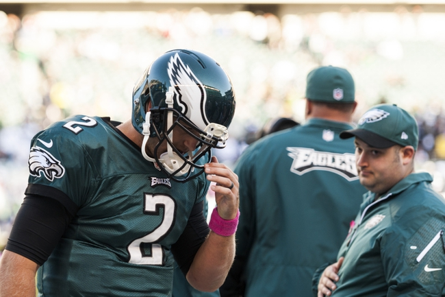 Oct 20, 2013; Philadelphia, PA, USA; Philadelphia Eagles quarterback Matt Barkley (2) along the sidelines after throwing an interception during the fourth quarter against the Dallas Cowboys at Lincoln Financial Field. The Cowboys defeated the Eagles 17-3. Mandatory Credit: Howard Smith-USA TODAY Sports