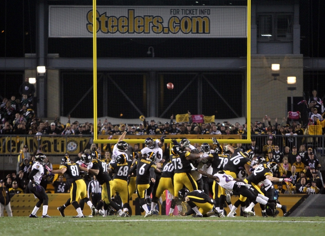 Oct 20, 2013; Pittsburgh, PA, USA; Pittsburgh Steelers kicker Shuan Suisham (6) kicks the game-winning field goal against the Baltimore Ravens during the second half at Heinz Field. The Steelers won the game, 19-16. Mandatory Credit: Jason Bridge-USA TODAY Sports