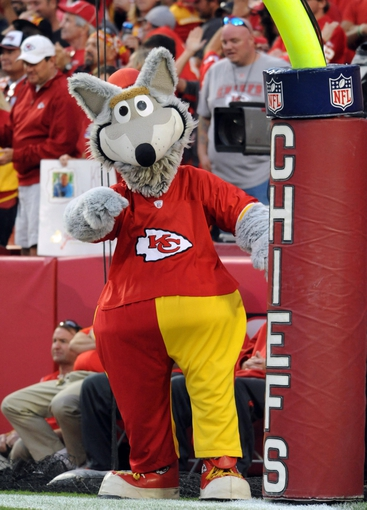 Oct 20, 2013; Kansas City, MO, USA; Kansas City Chiefs mascot KC Wolf performs for the crowd during the second half of the game against the Houston Texans at Arrowhead Stadium. The Chiefs won 17-16. Mandatory Credit: Denny Medley-USA TODAY Sports