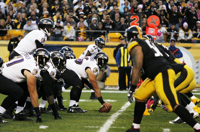 Oct 20, 2013; Pittsburgh, PA, USA; The Baltimore Ravens offense lines up against the Pittsburgh Steelers defense during the third quarter at Heinz Field. The Steelers won 19-16.  Mandatory Credit: Charles LeClaire-USA TODAY Sports