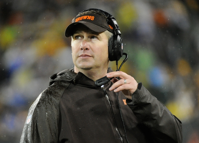 Oct 20, 2013; Green Bay, WI, USA;   Cleveland Browns head coach Rob Chudzinski watches the game against the Green Bay Packers in the 4th quarter at Lambeau Field. Mandatory Credit: Benny Sieu-USA TODAY Sports