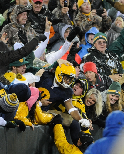 Oct 20, 2013; Green Bay, WI, USA;  Green Bay Packers wide receiver Jarrett Boykin (11) celebrates with fans after scoring a touchdown in the 4th quarter against the Cleveland Browns at Lambeau Field. Mandatory Credit: Benny Sieu-USA TODAY Sports