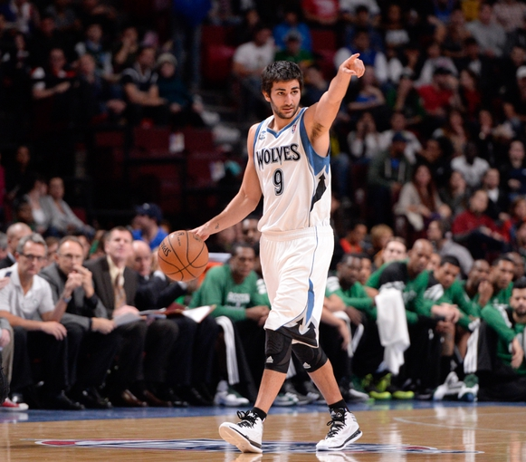 Oct 20, 2013; Montreal, Quebec, CAN; Minnesota Timberwolves guard Ricky Rubio (9) sets up his teammates during the first quarter against the Boston Celtics at the Bell Centre. Mandatory Credit: Eric Bolte-USA TODAY Sports