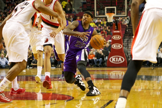 Oct 20, 2013; Portland, OR, USA; Sacramento Kings point guard Isaiah Thomas (22) drives the lane against the Portland Trail Blazers in the first half at Moda Center. Mandatory Credit: Jaime Valdez-USA TODAY Sports