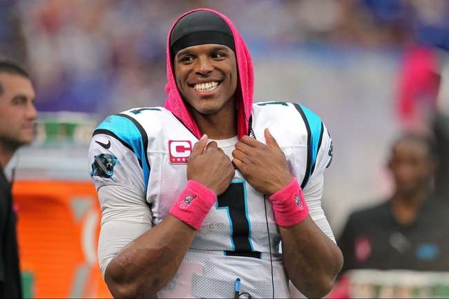 Oct 13, 2013; Minneapolis, MN, USA; Carolina Panthers quarterback Cam Newton (1) smiles against the Minnesota Vikings at Mall of America Field at H.H.H. Metrodome. The Panthers defeated the Vikings 35-10. Mandatory Credit: Brace Hemmelgarn-USA TODAY Sports