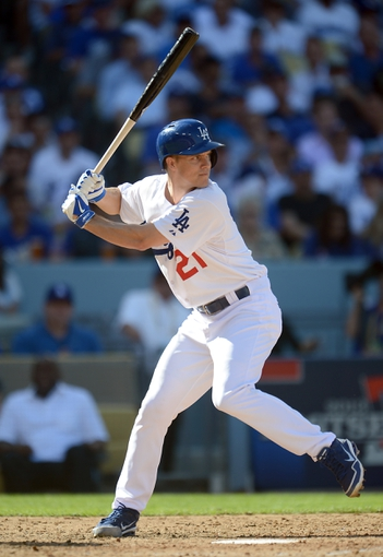 October 16, 2013; Los Angeles, CA, USA; Los Angeles Dodgers starting pitcher Zack Greinke (21) at bat during  game five of the National League Championship Series baseball game against the St. Louis Cardinals at Dodger Stadium. Mandatory Credit: Jayne Kamin-Oncea-USA TODAY Sports