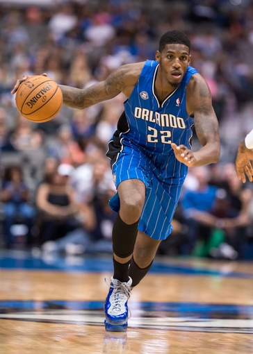Oct 14, 2013; Dallas, TX, USA; Orlando Magic power forward Solomon Jones (22) brings the ball up court during the game against the Dallas Mavericks at the American Airlines Center. The Magic defeated the Mavericks 102-94. Mandatory Credit: Jerome Miron-USA TODAY Sports